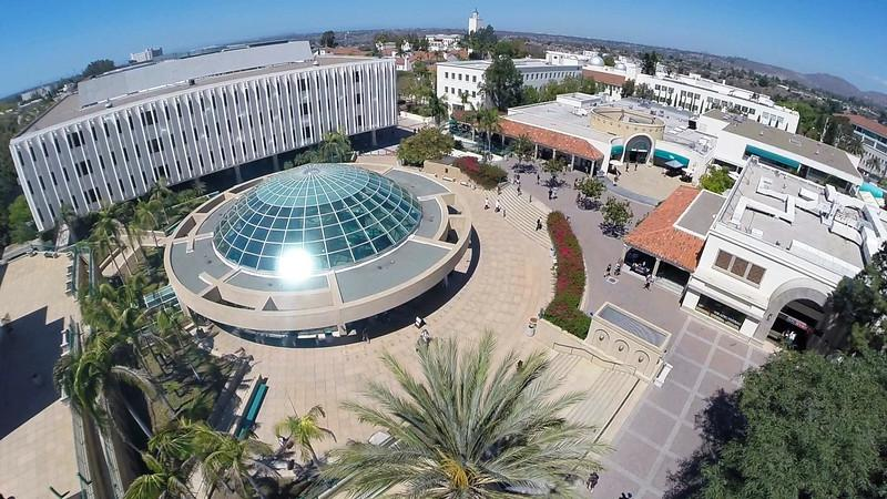 Aerial shot of SDSU Library dome during the day.